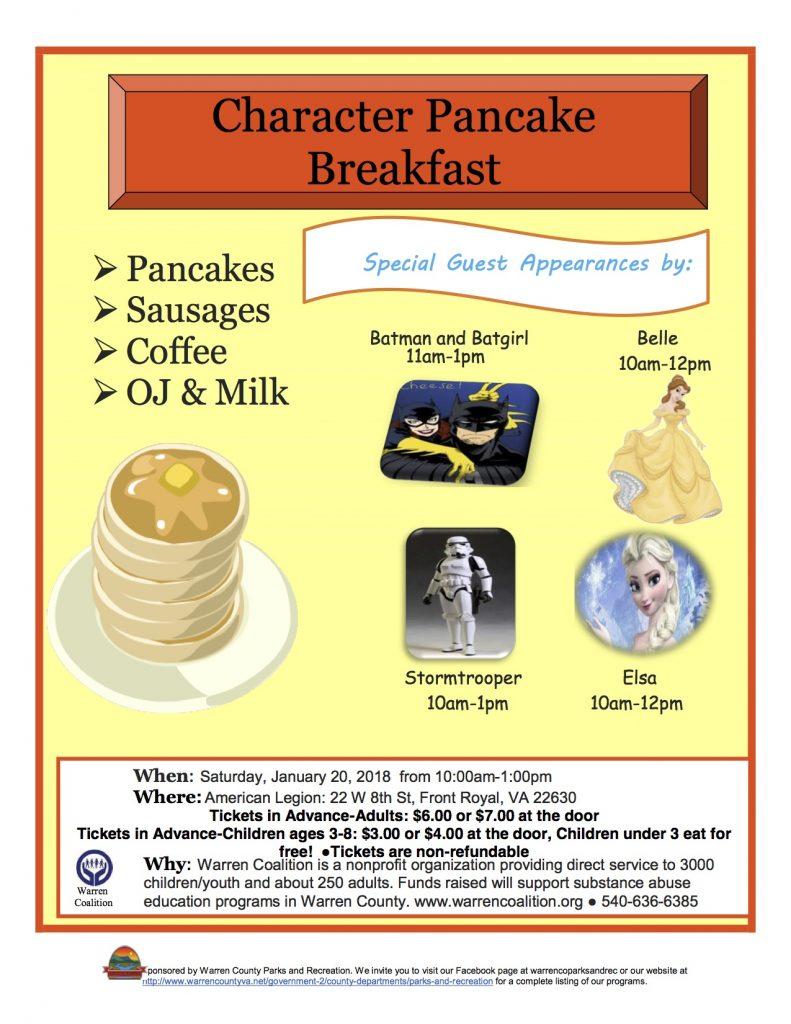 Character Pancake Breakfast Flyer